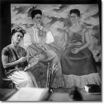 Frida Painting the Two Fridas