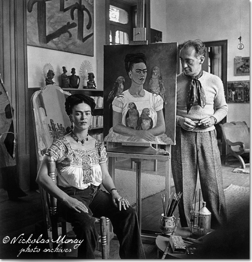 "Frida Painting ""Me and My Parrots,"" with Nickolas Muray"